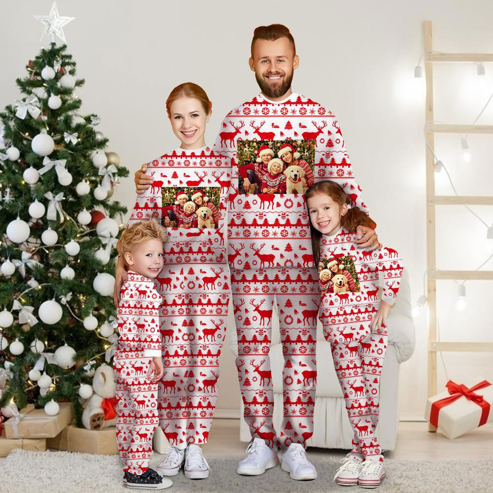 Christmas Gift Custom Family Photo Long Sleeve Pajamas Set Personalized Christmas Style Pajama Matching Set