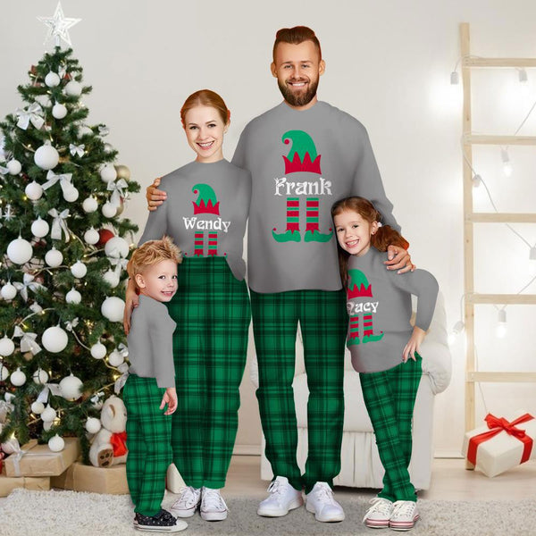 Custom Engraved Long Sleeve Pajamas Set Personalized Family Sleepwear Green Plaid Pajama Pants Christmas Gift