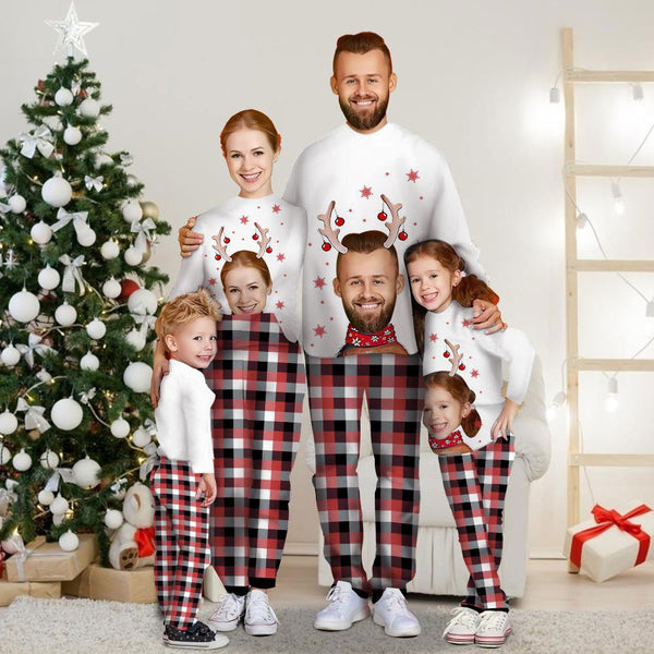 Custom Family Photo Long Sleeve Pajamas Matching White Set Christmas Gift