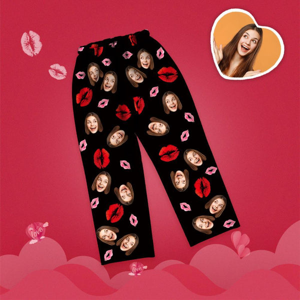 Valentine's Day Custom Face Lip Printed Long Sleeve Pajamas