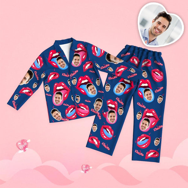 Valentine's Day Custom Face Tongue Kiss Printed Long Sleeve Pajamas Set