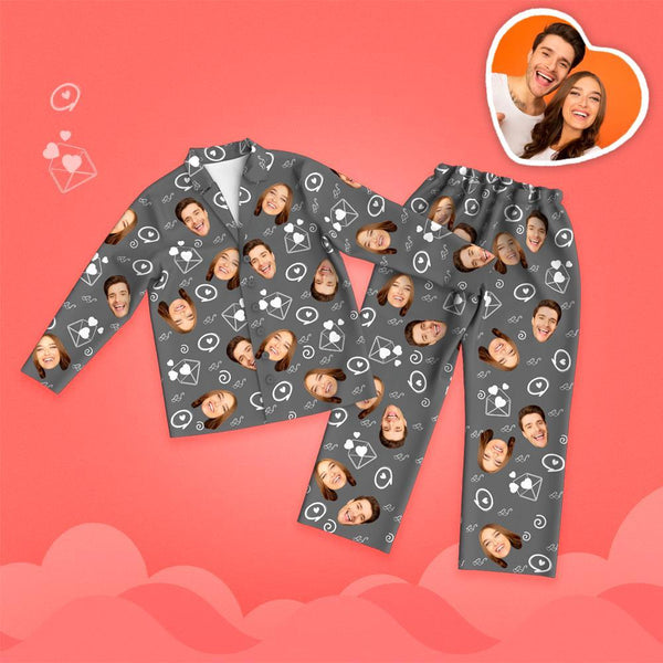 Valentine's Day Custom Face Love And Message Printed Long Sleeve Pajamas
