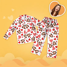 Valentine's Day Custom Face Red Heart Printed Long Sleeve Pajamas Set