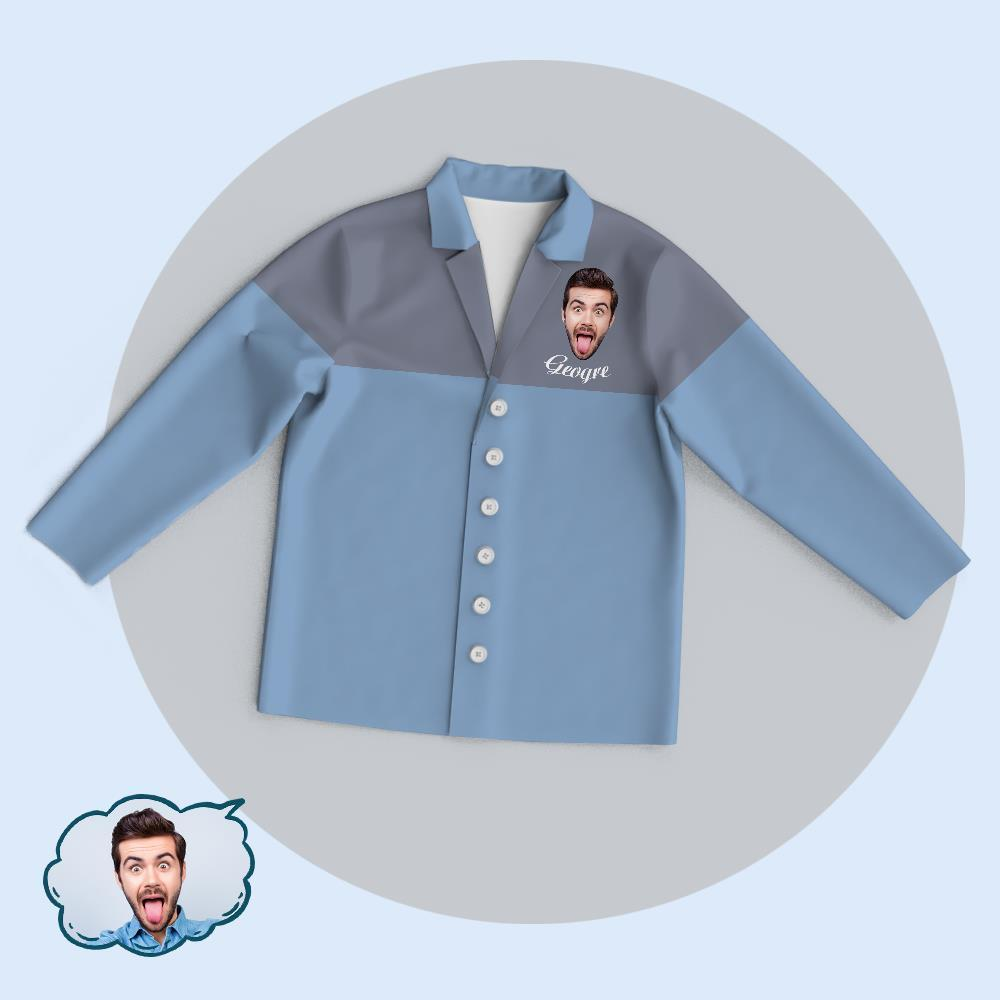 Custom Blue-Grey Colorblock Unisex Cardigan Pajama Tops Add Your Photo And Name