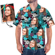 Custom Face Shirt Men's Hawaiian Shirt Palm Leaves