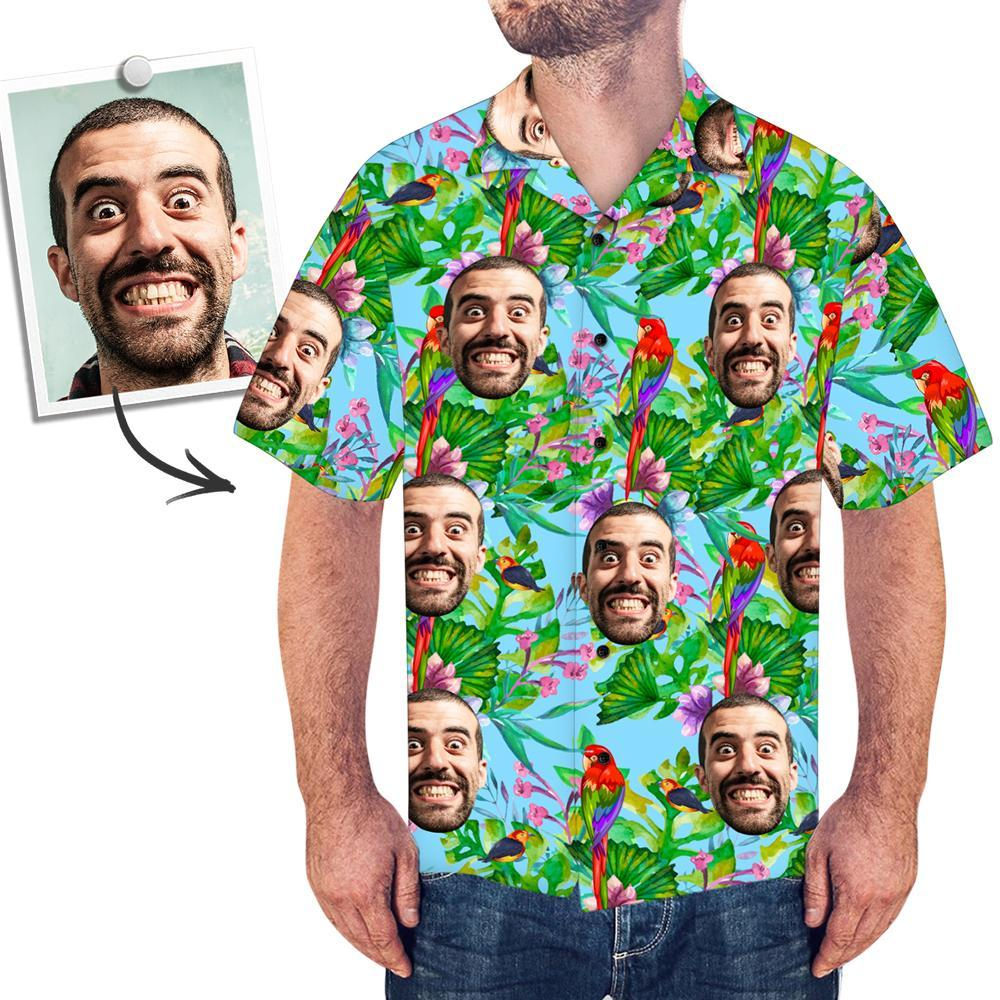 Custom Face Shirt Men's Hawaiian Shirt Colorful Parrot