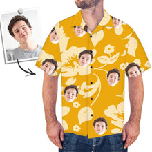 Custom Face Shirt Men's Hawaiian Shirt Dark Yellow Flower