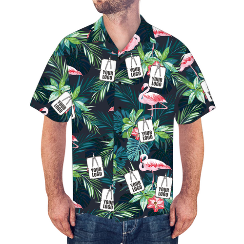 Custom Logo Shirt Men's Hawaiian Shirt Flamingo Flower