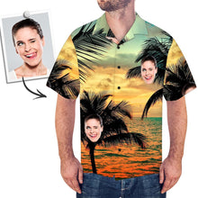 Custom Face Shirt Men's Hawaiian Shirt Sunset Palm