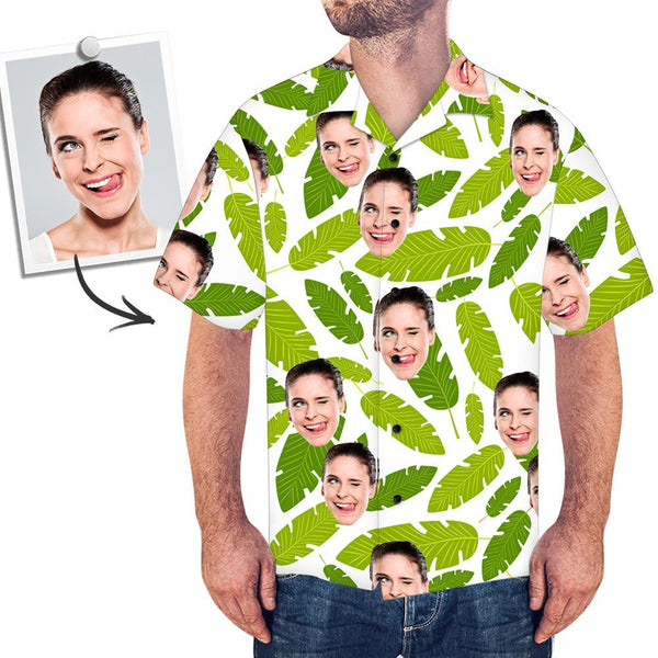 Custom Face Shirt Men's Hawaiian Shirt Green Leaves