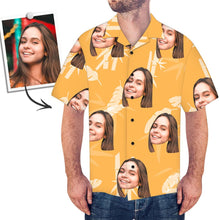 Custom Face Shirt Men's Hawaiian Shirt Simple Style Yellow