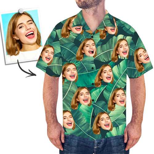 Custom Face Shirt Men's Hawaiian Shirt Green
