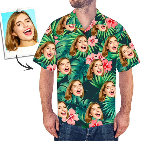 Custom Face Shirt Men's Hawaiian Shirt Red Flowers