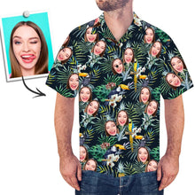 Custom Face Shirt Men's Hawaiian Shirt Leaves And Birds
