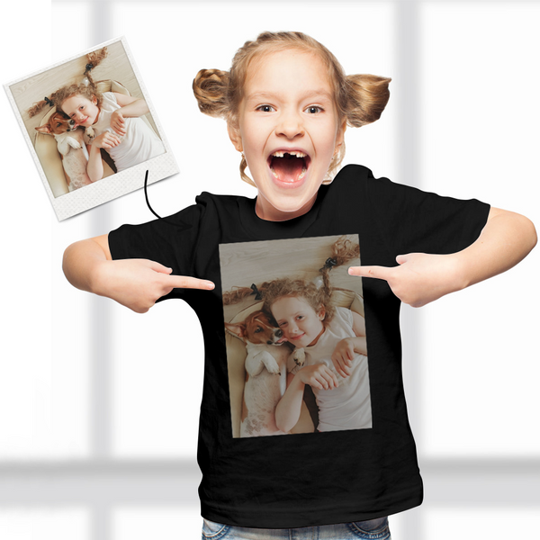 Custom Photo Kid T-Shirt 2-6 years old Cotton T-Shirt Love My Parents