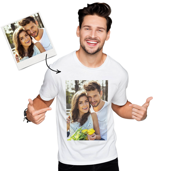 Custom Photo Men's Cotton T-shirt Short Sleeve Printed T-shirt