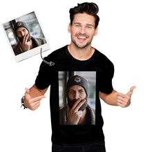 Custom Photo Men's Cotton T-shirt Short Sleeve Smoking