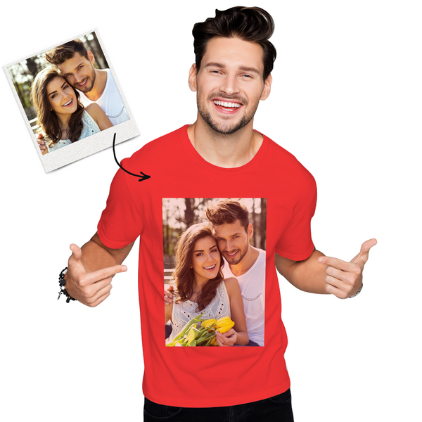 Custom Photo Men's Cotton T-shirt Short Sleeve Beautiful Girl