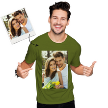 Custom Photo Men's Cotton T-shirt Short Sleeve Gifts for Him