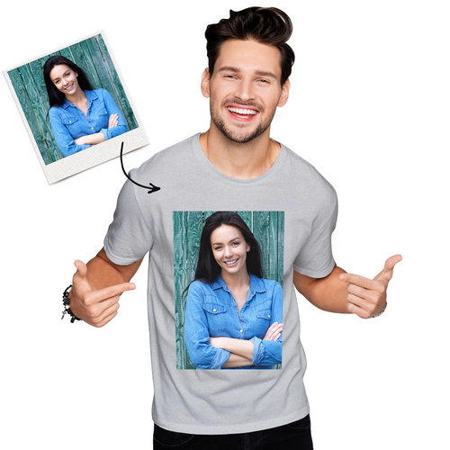 Custom Photo Men's Cotton T-shirt Short Sleeve Gifts for Love
