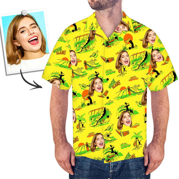 Custom Face Shirt Men's Hawaiian Shirt Surfing