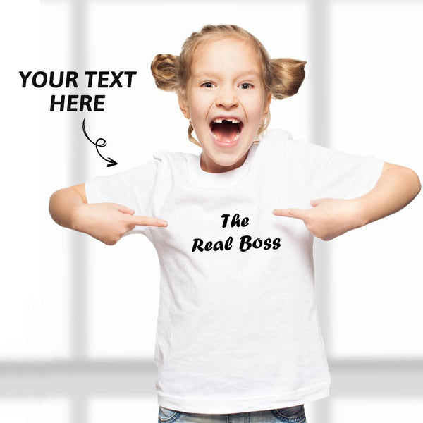 Custom Text Kid T-Shirt 2-6 years old Cotton T-Shirt White