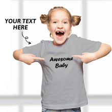 Custom Text Kid T-Shirt 2-6 years old Cotton T-Shirt Grey