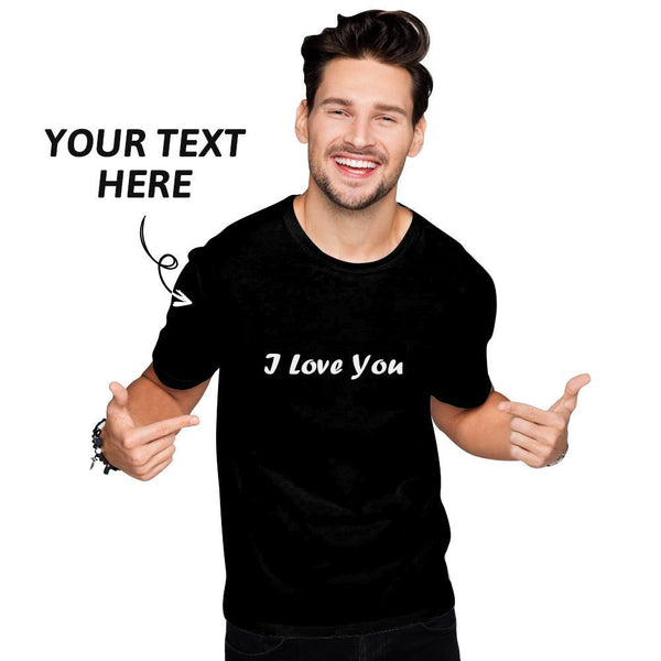 Custom Text Men's Cotton T-shirt Short Sleeve Grey