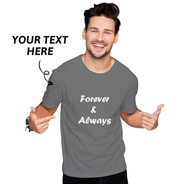 Custom Text Men's Cotton T-shirt Short Sleeve Navy Blue