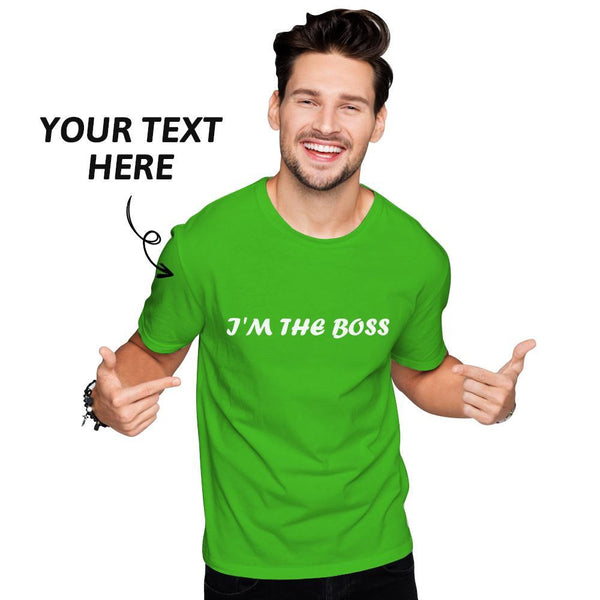 Custom Text Men's Cotton T-shirt Short Sleeve White
