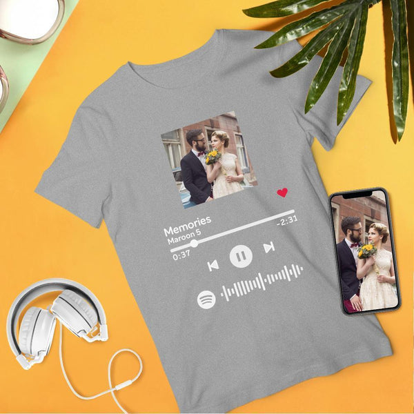 Custom Scannable Spotify Code Album Cover T-Shirt Black