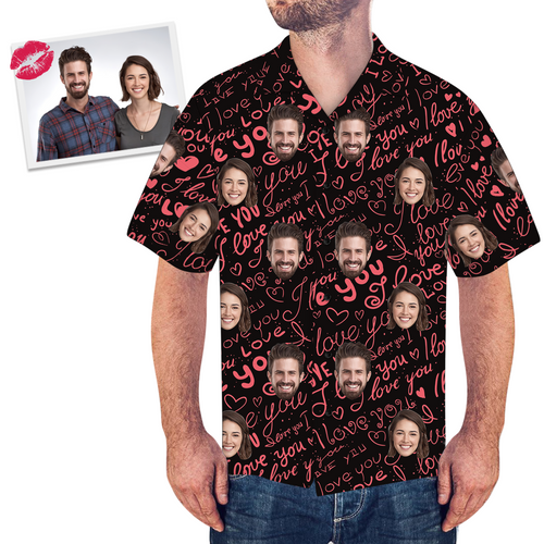 Custom Face Couple Hawaiian Shirt Expression Of Love - MyPhotoSocksAU
