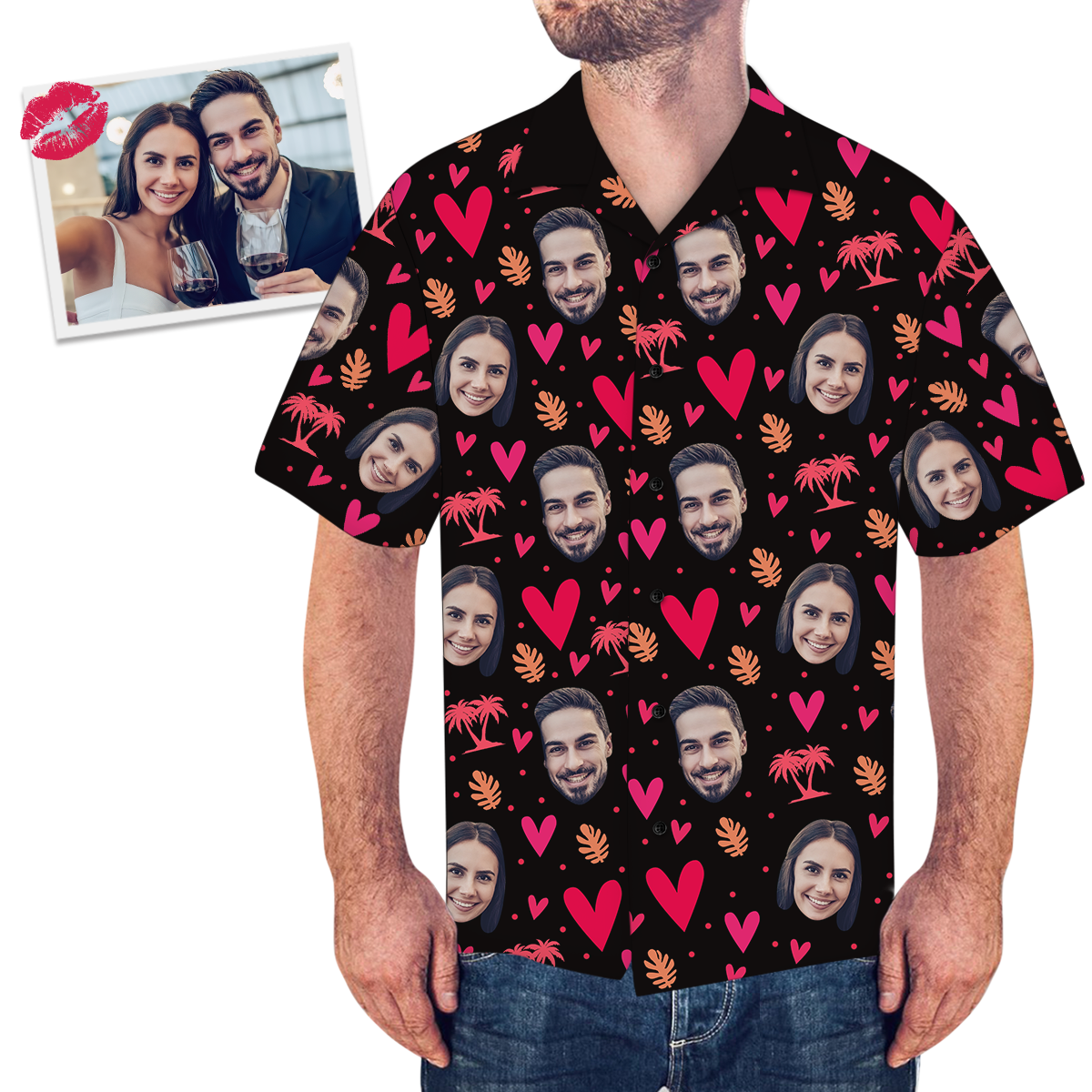 Custom Face Tree And Leaves Love Heart Men's All Over Print Couple Hawaiian Shirt - MyPhotoSocksAU