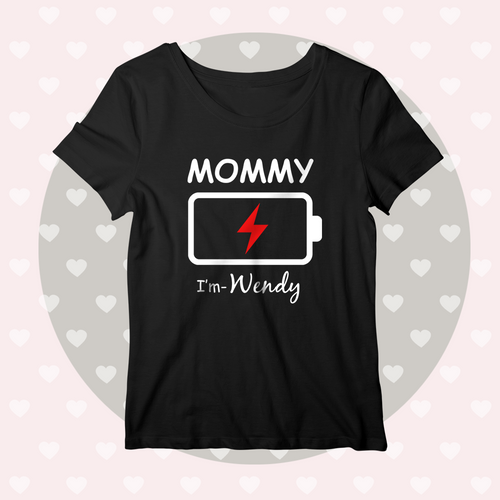 Custom Name Matching Family Shirts Personalised Women's Cotton T-shirt Charged Battery