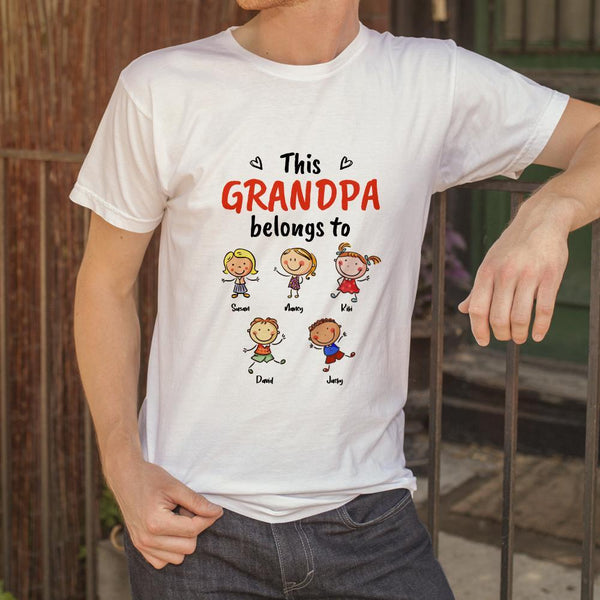 Personalized Name Cartoon T-Shirt Grey Personalized Shirt For Grandmother Mother's Day Gift