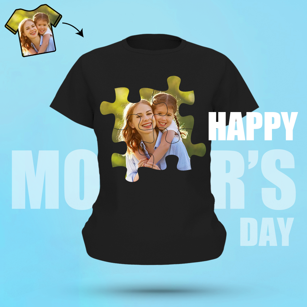 Custom Photo Shirt Personalised Puzzle T-shirt For Mom Women's Cotton T-shirt
