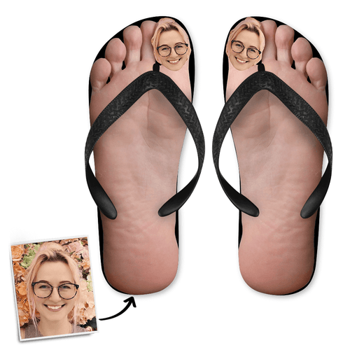 Custom Face Photo Big Toe Flip Flops, Sandal