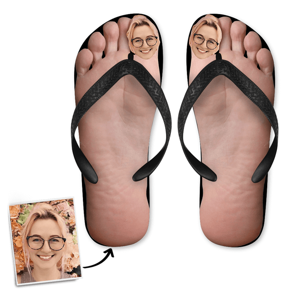 Custom Face Photo Big Toe Flip Flops, Sandal with His Face