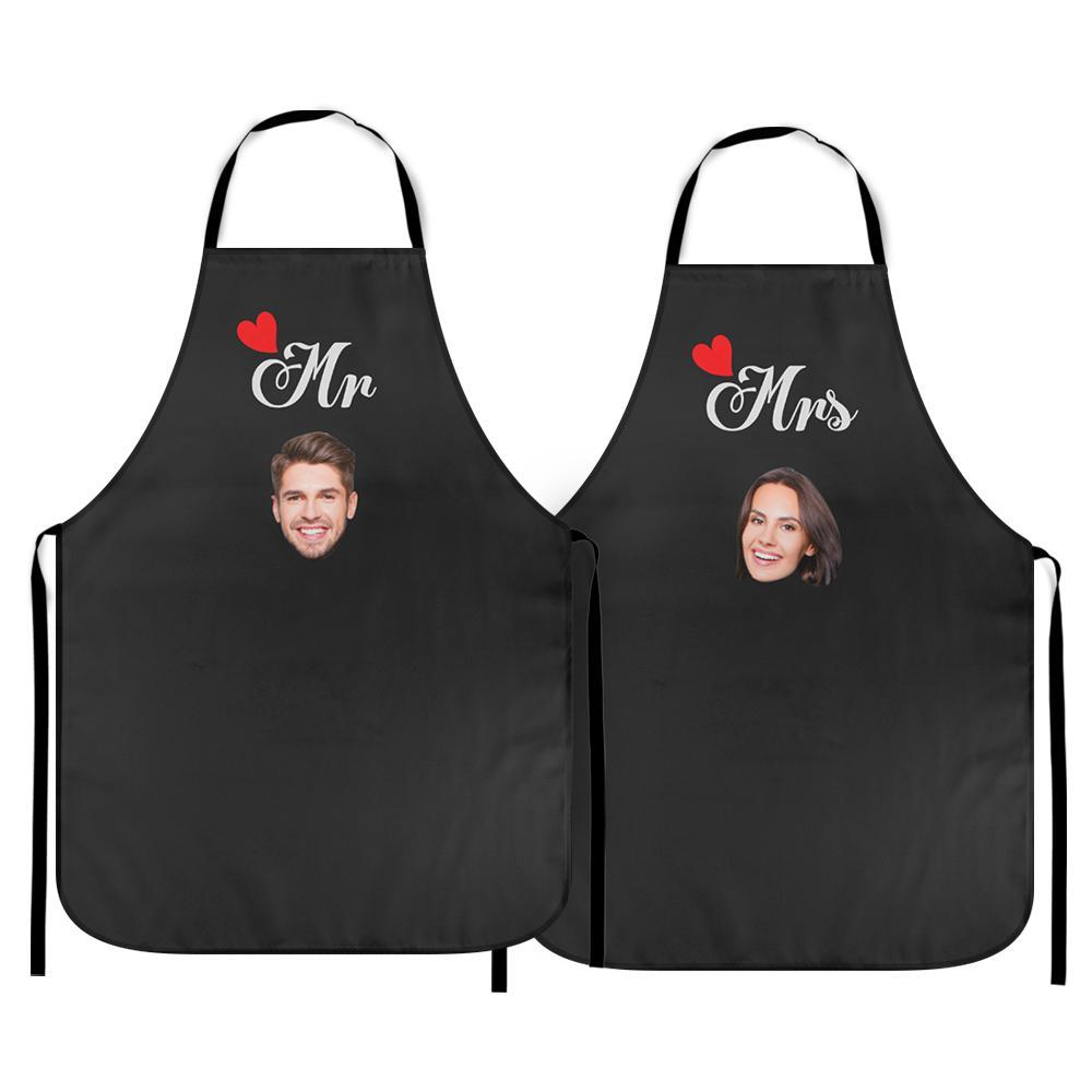 Personalized Kitchen Cooking Apron with Photo of You and Your Love Respectively Pack of 2