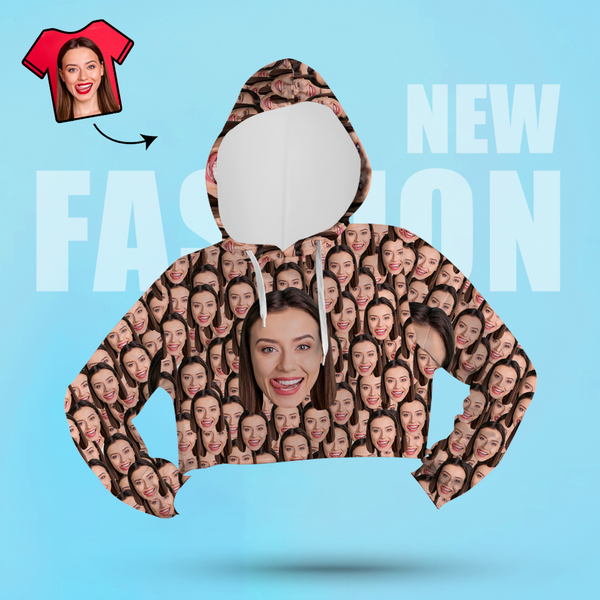 Custom Face Women's Cropped Hoodie Casual Printed Photo Pullover - Big Face