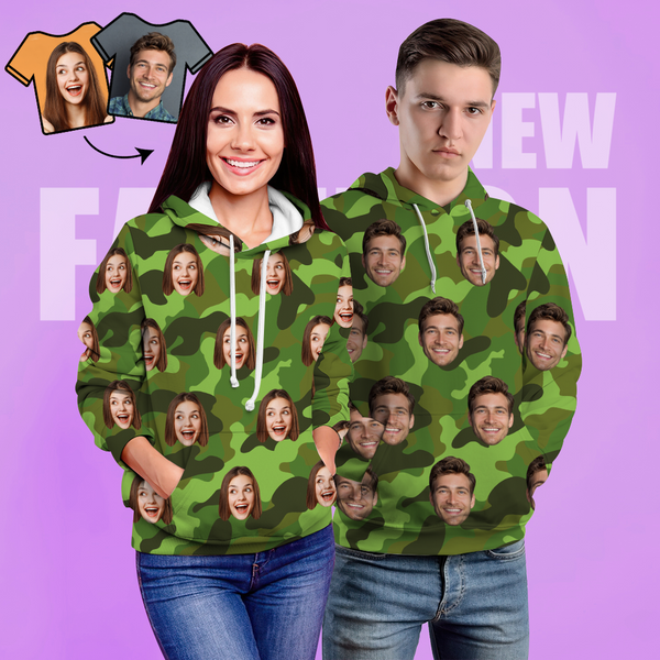 Custom Face Unisex Hoodie Casual Printed Photo Green Hoodie For Men Women - Camouflage