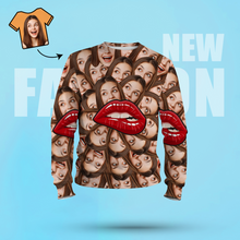 Custom Face Unisex Sweatshirt Casual Printed Photo Long Sleeve Shirt For Men Women - Lips