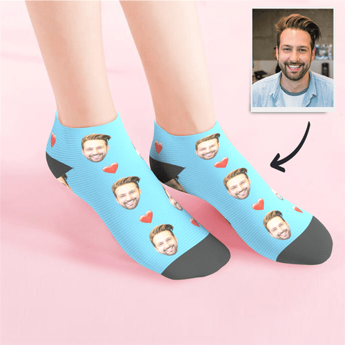 Custom Low Cut Ankle Face Socks Heart Summer Photo Socks