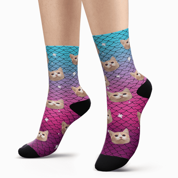 Custom Cute Mermaid Photo Socks - Unisex