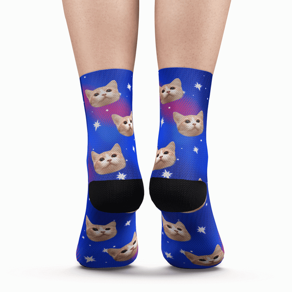 Custom Galaxy Cat Photo Socks - Unisex