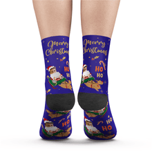 Custom Merry XMAS Photo Socks With Text - Unisex