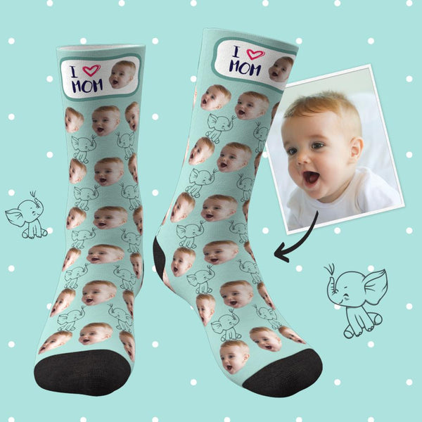 Custom Face Socks Elephant I Love Mom Best Gifts For Mom - Unisex