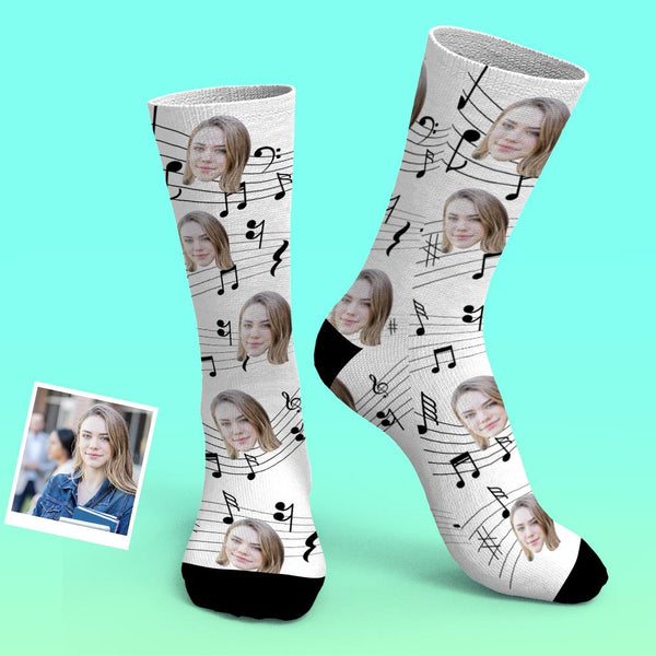 Custom Photo Socks Music Notes Cute Odd Socks