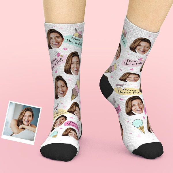 Custom Face Socks Add Pictures And Name Mother's Day Gift - Mum You're Fab