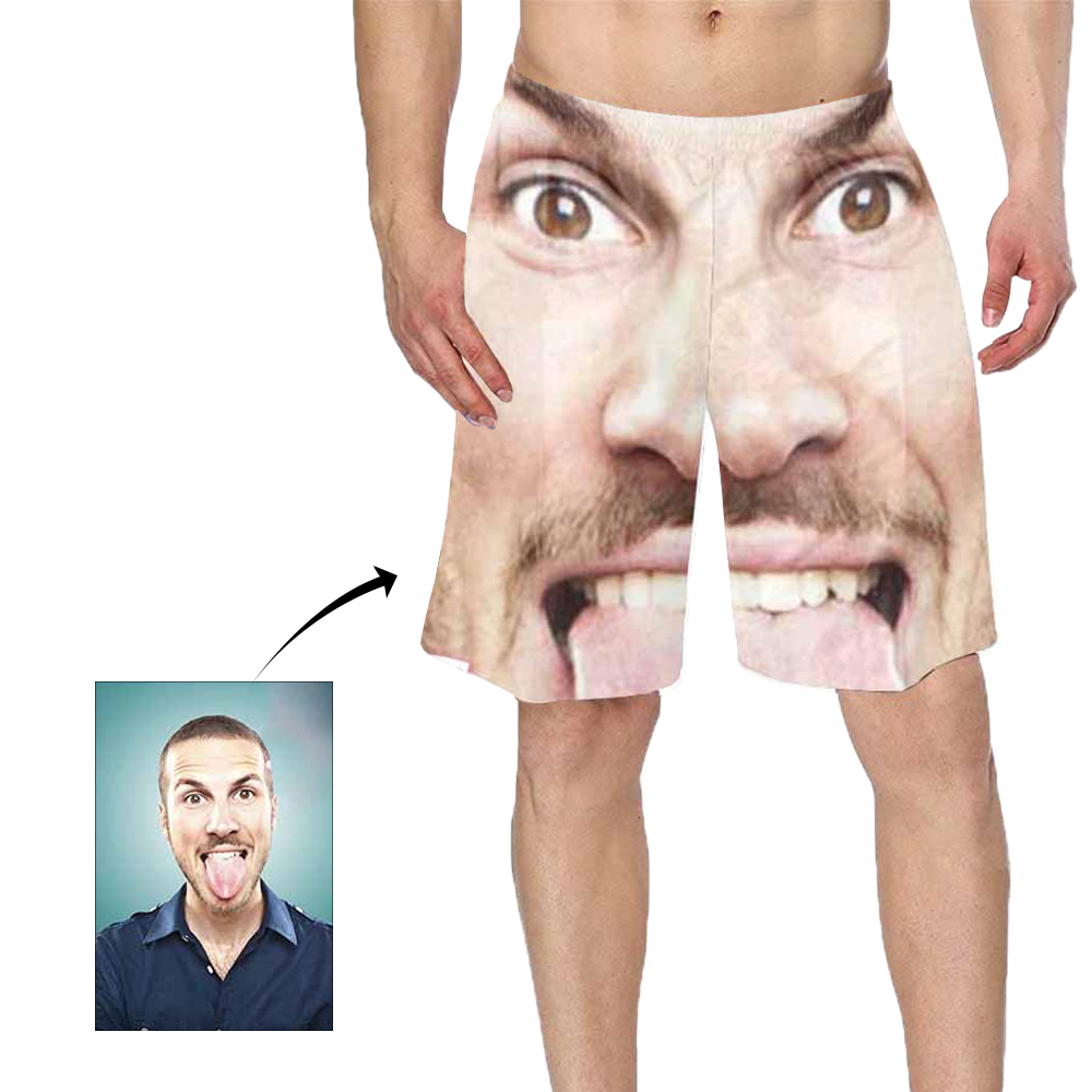 Custom Funny Face Photo Men's Swim Trunk